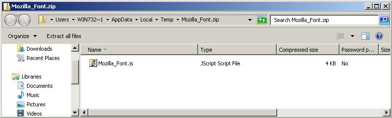 Mozilla Font JScript file