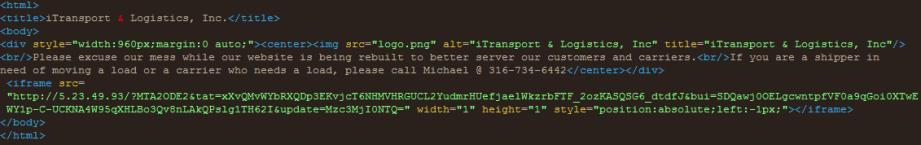 page source with RIG EK landing page URL
