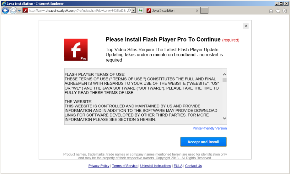 Fake flash player update