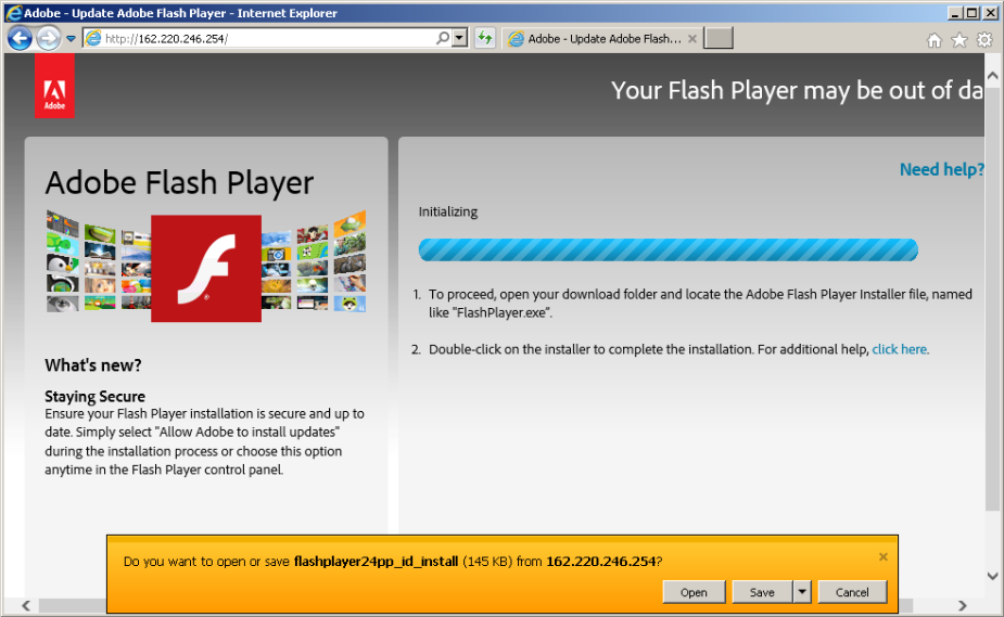Decimal IP fake flash player landing page