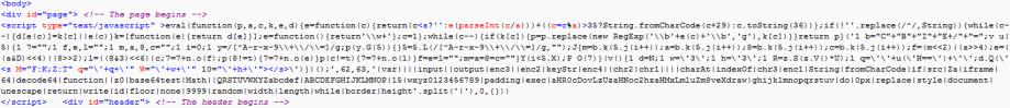 packed javascript on decoy site