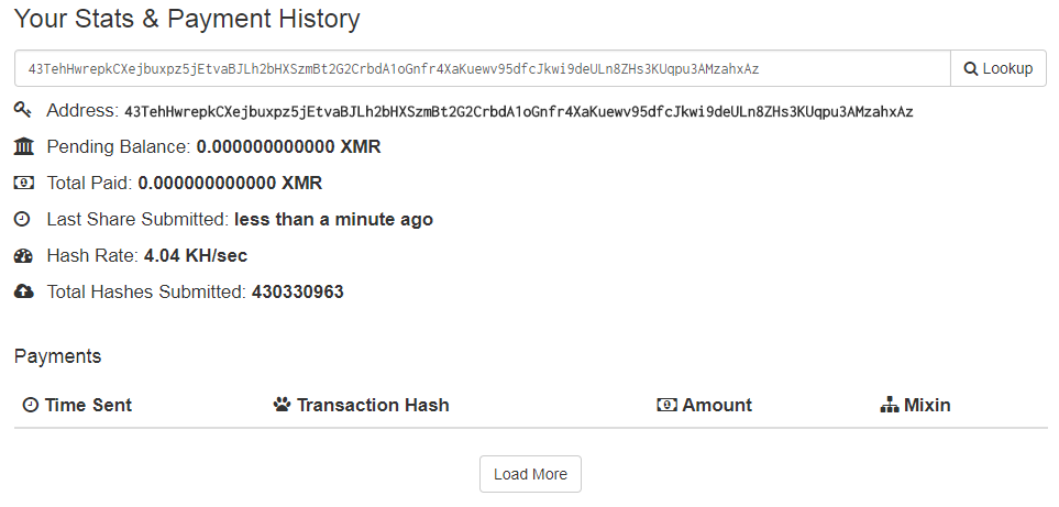 Stats and Payment History