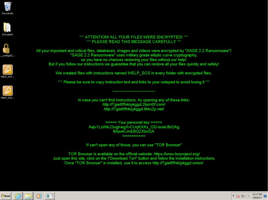 Desktop SAGE ransomware